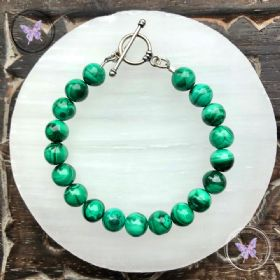 Malachite Bracelet with Silver Toggle Clasp